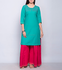 Cotton Sequin Yoke Mini Kurta For Girls
