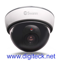 SWN27 - SWANN CCTV IMITATION FAKE DUMMY DOME SECURITY CAMERA THEFT PREVENTION WITH RED FLASHING LIGHT & DETERRENT STICKERS
