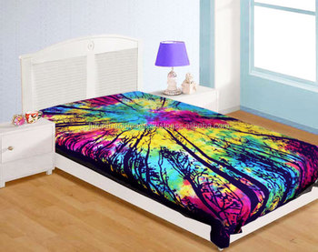 Colourful Of The Forest Tapestry Indian Hippie Twin Size Bed Sheet Tie Dye  Wholesale Indian Printed