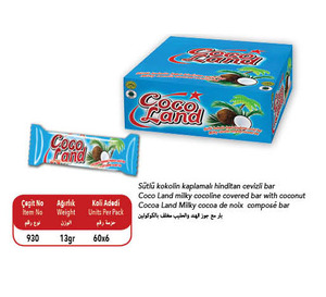 Cocoland Cocoa Coated Nougat bar with Coconut 13 gr
