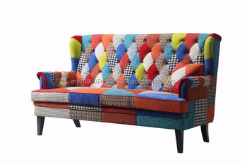 Patchwork Sofa With Black Wood Legs