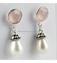 Impressive Charm White Pink Rose Quartz_Pearl Bezel Earring, Gemstone Silver Jewelry, Silver Jewelry