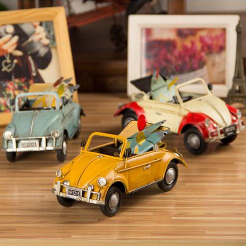 Creative fashion iron sheet Beetle car models / retro home decorations Arts & Crafts furnishing articles