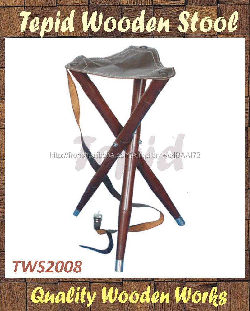 si ge en cuir et en bois jambes tabouret tr pied tabouret. Black Bedroom Furniture Sets. Home Design Ideas