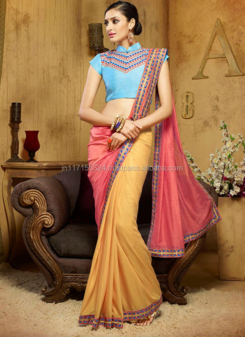 Plain Sarees With Designer Blouse Hyderabad | Toffee Art