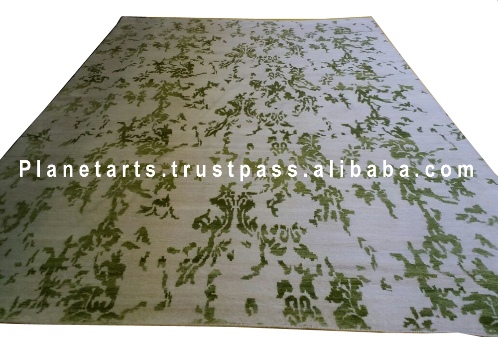abstract carpet light green carpet hand made silk rug