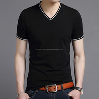 Outshourcing factory o-neck, v-neck Men's T shirt, short sleeve solid color