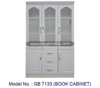 Superb White Color Modern Book Cabinet New Design Bookcase With 3 Glass Doors And  Drawers In MDF