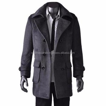 Men's Official Wool Long Coats / 2015 New Design Men's Wool Long ...