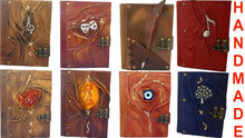 NEW GENUINE REAL LEATHER-HIGH QUALITY-HANDMADE VARIOUS DESIGNS JOURNAL -NOTEBOOK - DIARY - SKETCHBOOK