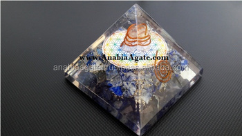 Orgone Pyramid : Wholesale Lapis Lazuli Orgone Pyramid With Chakra Flower Of Life Symbol