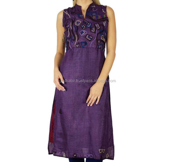 Indian Best Bimba Women Ethnic Silk Kurti Kurta Long Blouse Indian Top Tunic Clothing/Purple color sexy stylist kurta dress