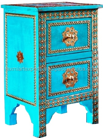 Hand Carved Hand Painted 2 Drawer Turquoise Bedside Table Night Stand With Brass Metal