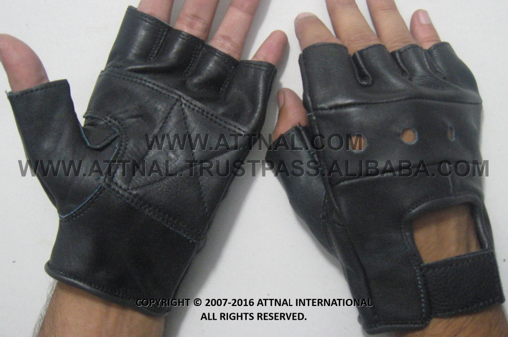 Fitness Leather Exercise Gloves with Cut Out Knuckle