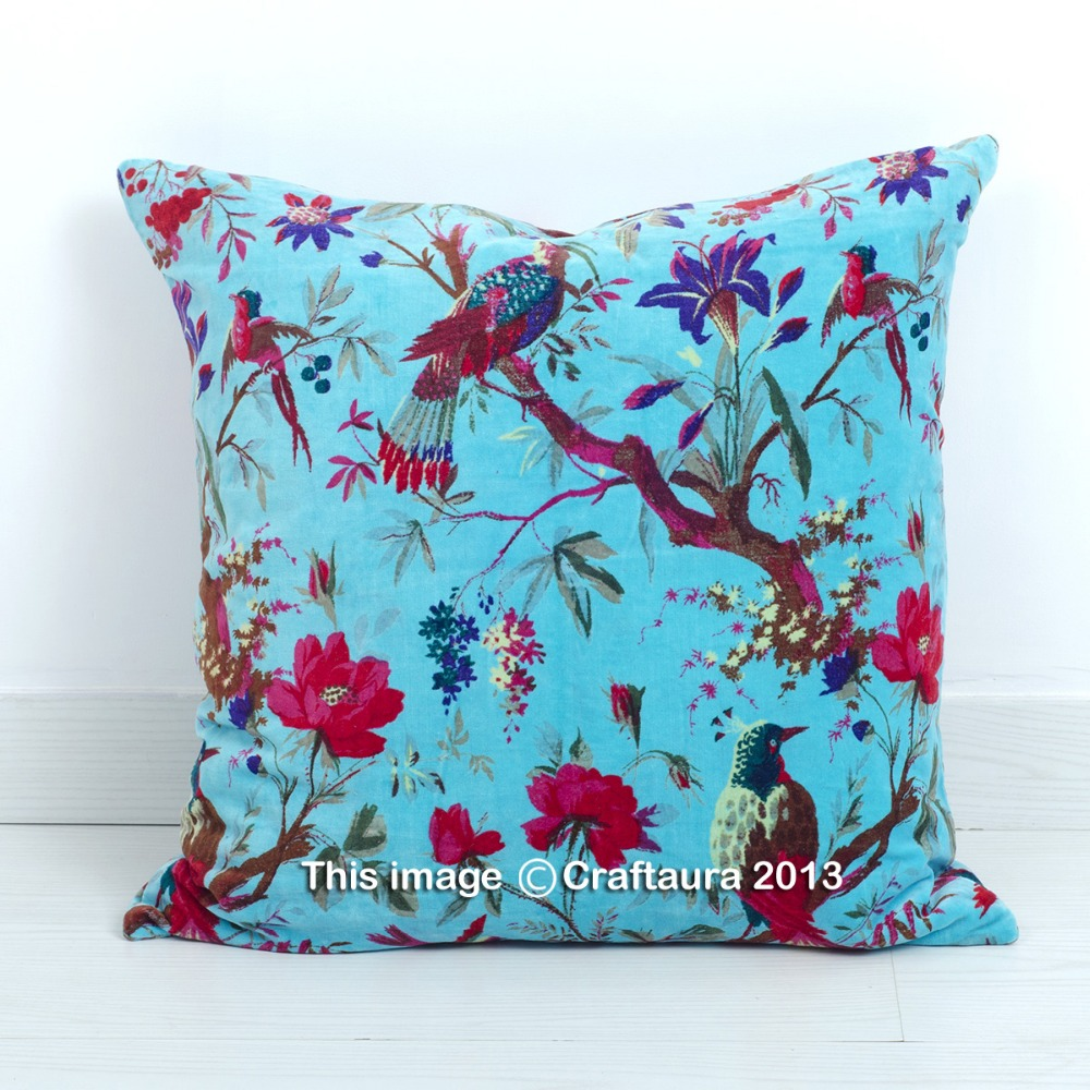 "BIRD PRINTED INDIAN WHOLESALER 16"" PILLOW CASES SKY BLUE COLOR VELVET FABRIC HOME DECORATIVE THROW CUSHIONS COVERS"