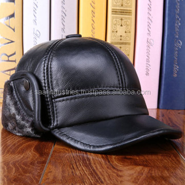 Unisex Cowhide Genuine Leather Earflaps Earmuff Bomber Baseball Hat Trapper Cap