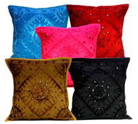 Multi Mirror Work Embroidery Indian Sari Throw Pillow Toss Cushion Covers Wholesale cushion covers online wholesales from india