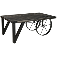 Industrial Distressed mango wood /cast iron coffee table