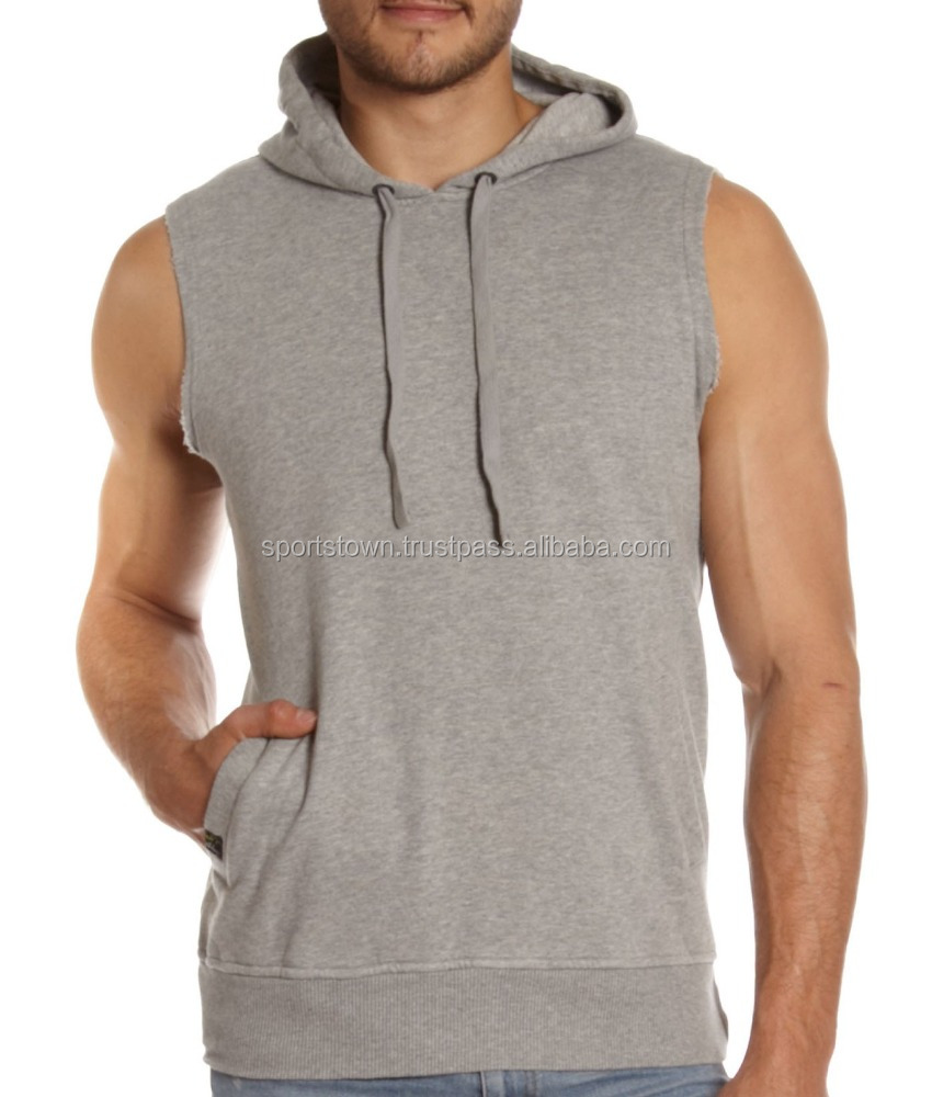 Top Men's style high quality pullover sleeveless grey hoodies custom 100% cotton hoodies for man