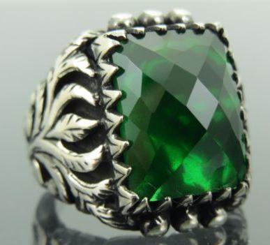 Turkish Ottoman  Green Emerald Gemstone 925 Sterling Silver Mens Ring Gemstone