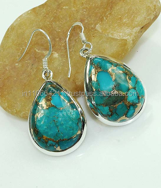925 Sterling Silver Blue Copper Mohave Turquoise Earring