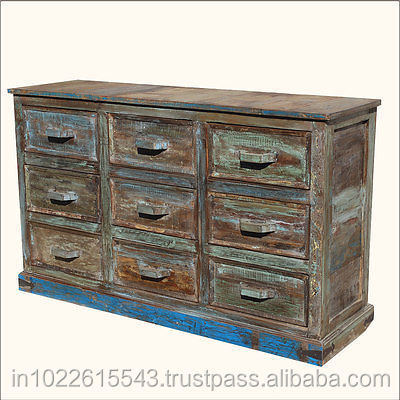 Industrial Reclaimed Wood Chest of Drawer, Small Filling Cabinet