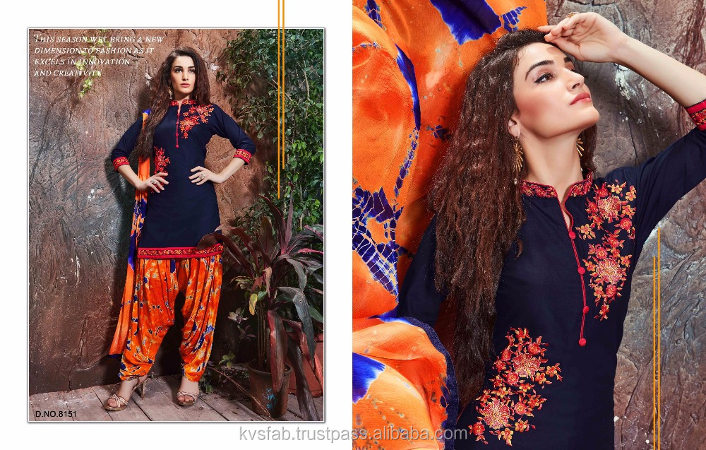 Classical Black pure cotton cambric Embroidered House wear patyala Unstitched ladies fashionable suits