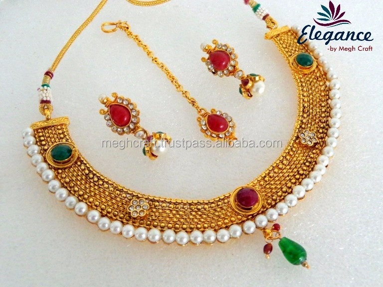 0cb58ee7a Indian one gram gold plated necklace set - Traditional Wedding wear pearl  necklace set - Wholesale bollywood style jewellery set