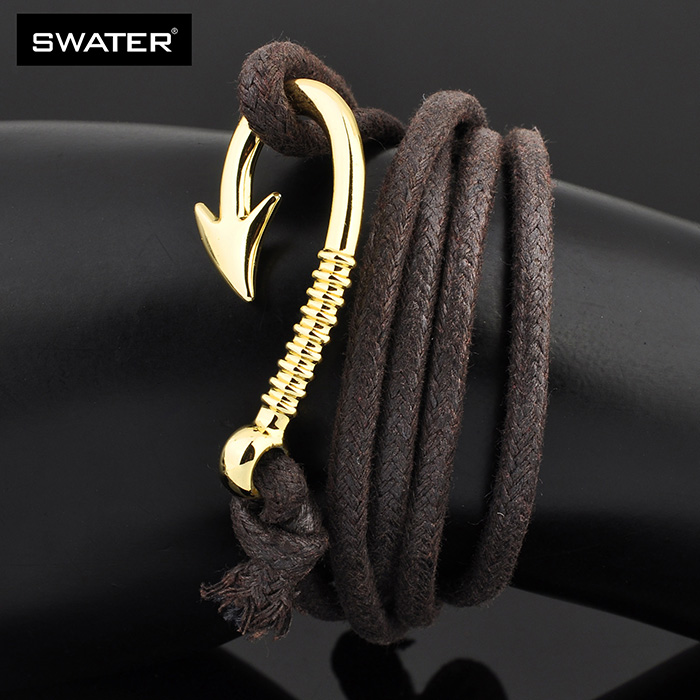 Turkish Jewellery Mens Wrist Band Gold Plated Leather Fish Hook Bracelet