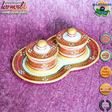 Kundanwork container & tray marble gift items indian wedding return favors wholesale gift