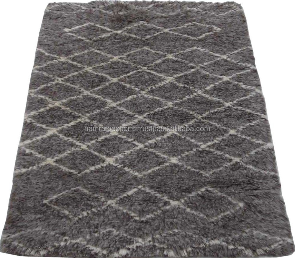 Hand Woven Moroccan Brown/Cream Shaggy Wool Rug