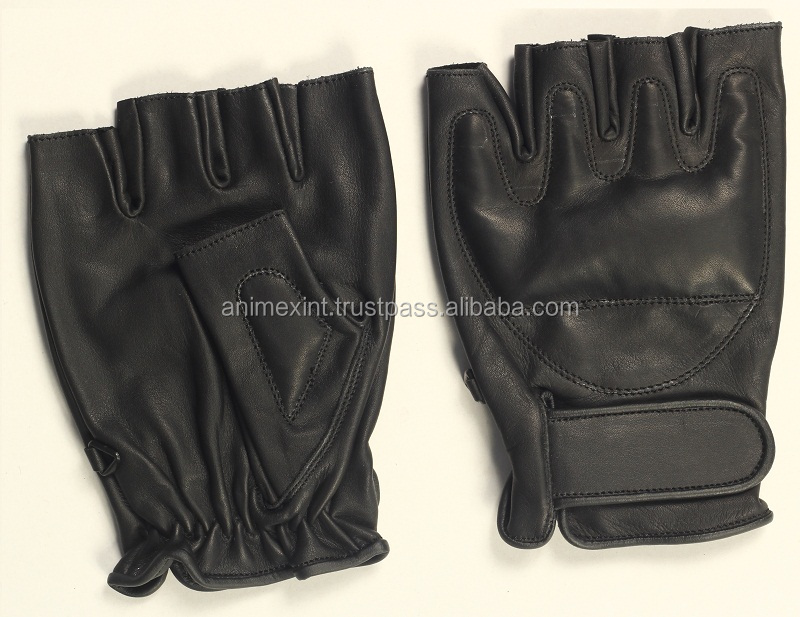 Police Protective Leather Fingerless Gloves