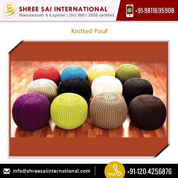 Easy to Carry Perfect Finish Knitted Pouf for Home Use