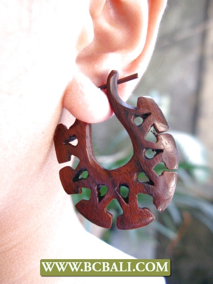 handcarved wooden earrings piercing craft design unique style