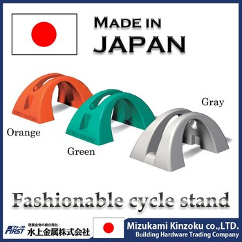 sophisticated plastic bicycle display rack made in Japan with excellent design to prevent from falling down by wind and contact