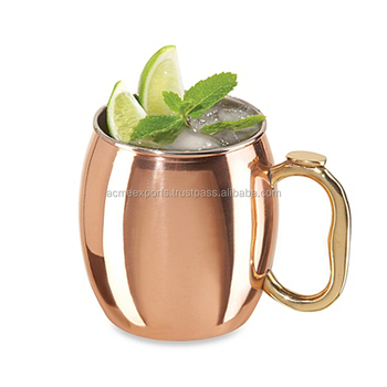 16 oz 100% Pure Copper Barrel Gift Mug for Moscow Mules | India manufacturer copper mug