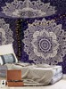 Indian Blue Silver Ombre Tapestry Bedspread,Boho Mandala, Queen, Indian Mandala Wall Art Hippie Gypsy Bedsheets