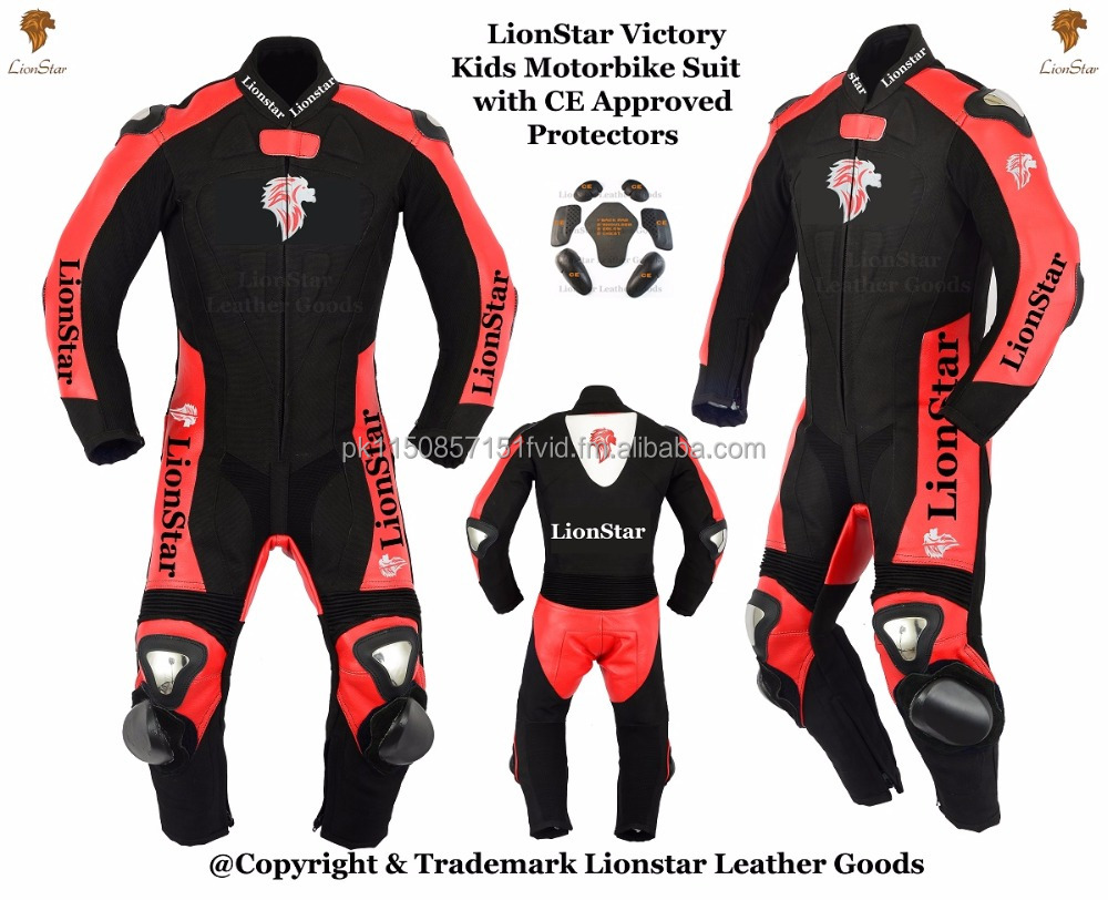 Lionstar Victory Kids Motorbike Leather Suit with CE Approved Armors