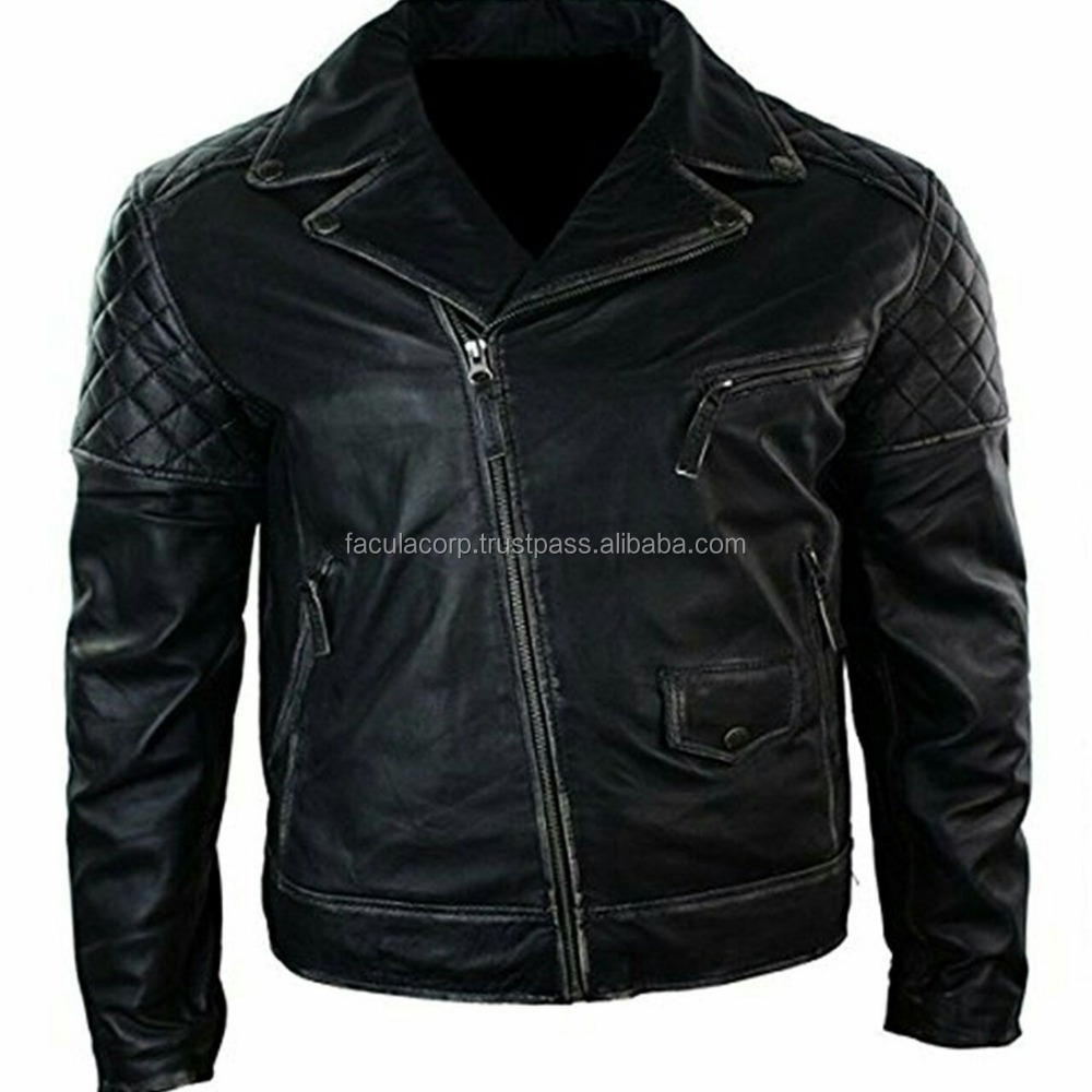 Classic Brando Style Motorcycle Distressed Black Biker Leather ...