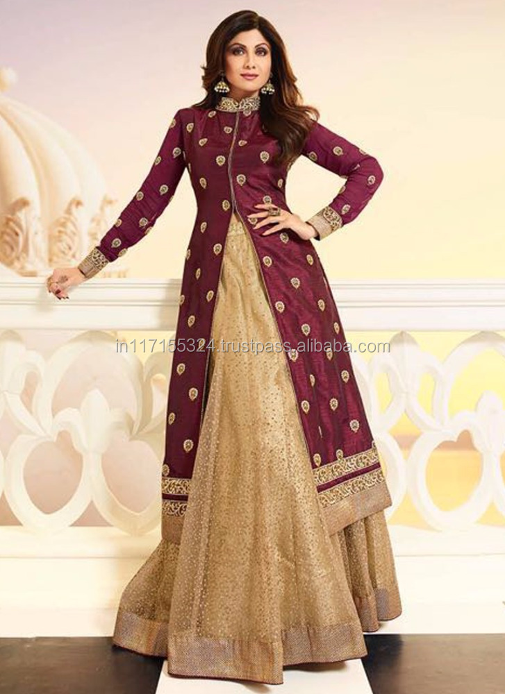 Exclusive Latest Designer Shilpa Shetty Style Maroon Anarkali Dress ...