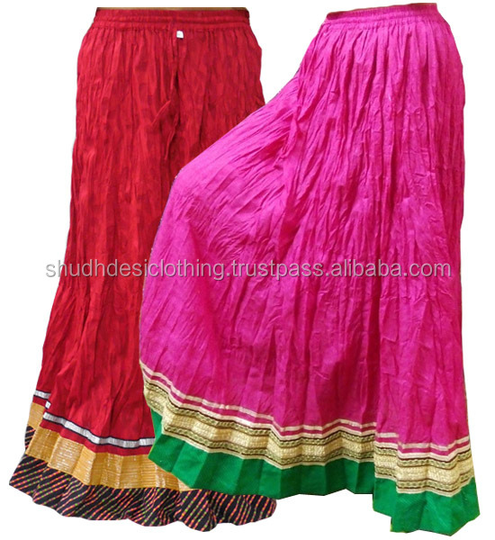 aec70a3ce Latest Fashion Wear Ladies Cotton Long Skirt | Indian Traditional Crushed  Design Casual Wear Long Cotton Skirt