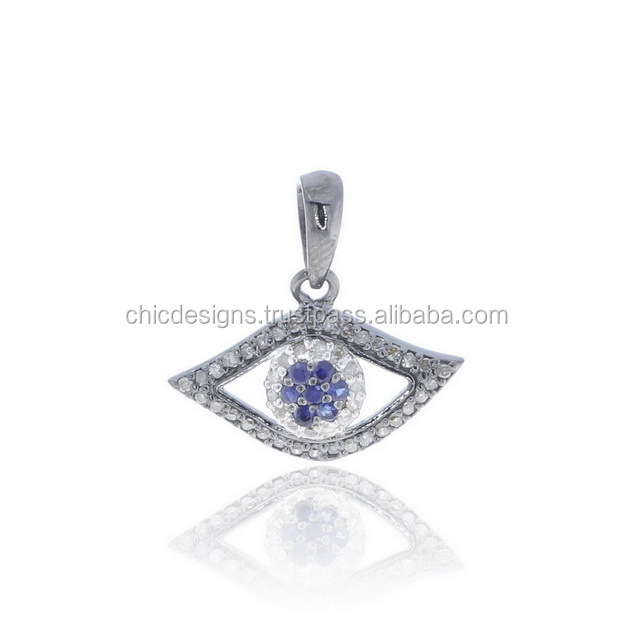 New Evil Eye Design Charm Pave Diamond Silver Sapphire Jewelry