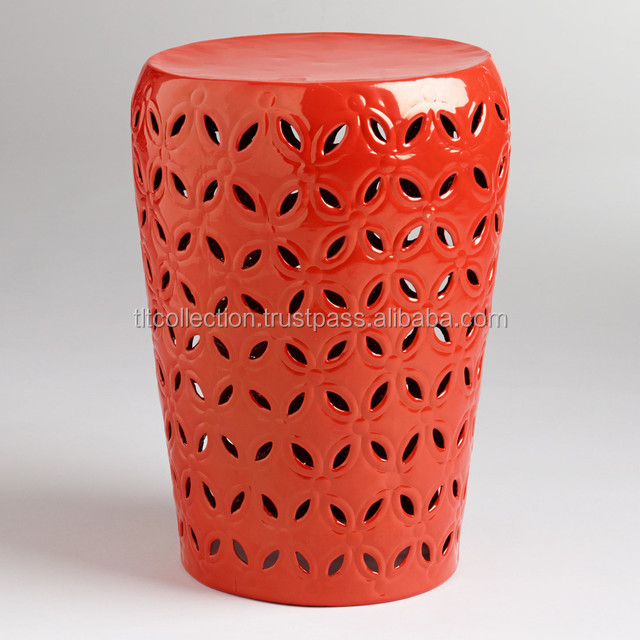 Orange Lili Punched Drum Stool Modern-accent-and-garden-stools ...