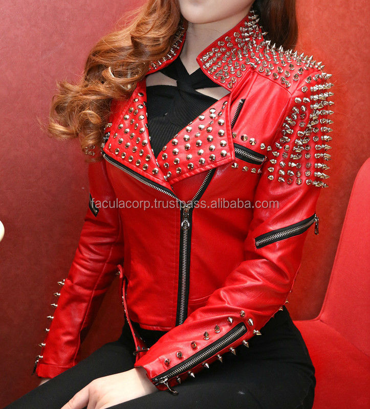 New Style Half Studded Rivets fitted Faux Leather woman Red Leather jacket with belt FC-7874