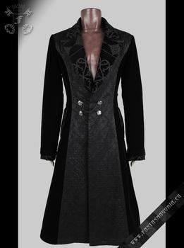 Punk Rave Mens Black Velvet Long Victorian Gothic Coat Y 433