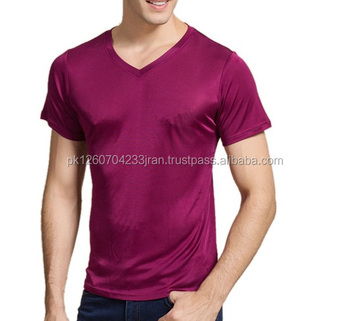 100% Real Silk Men's T-shirts / Short Sleeve o Neck Man Wild T-shirt