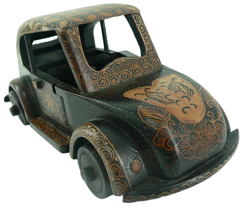 Batik Wood Miniature Vintage Car, Volkswagen Beetle