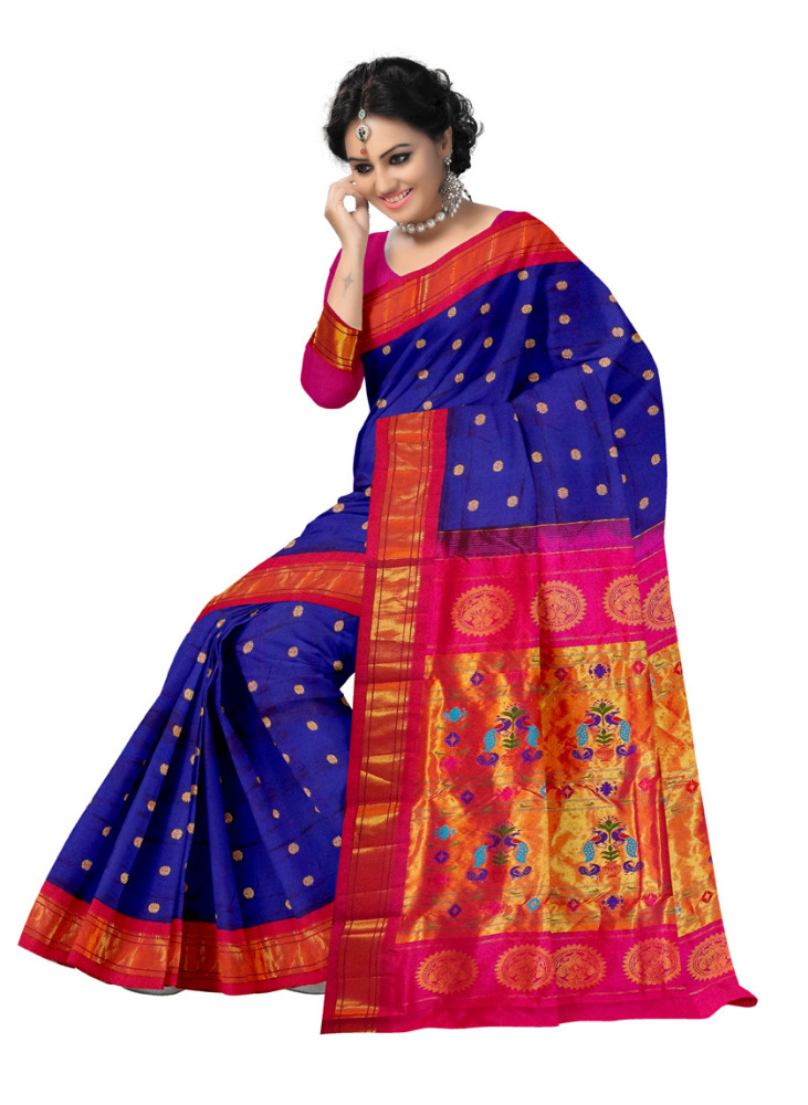 paithani saree A Gorgeous Magenta Colored in rich, Paithani Silk Saree with Blue Contrast Boarder & buttis all over the Saree. T