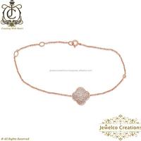 14k Rose Gold Bracelet Jewelry.Latest Rose Gold Pave Diamond Bracelet. High Quality Women Bracelets Wholesale Chain Jewelry