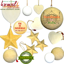 Unfinished paper mache blank Christmas ornaments diy wholesale craft supplies